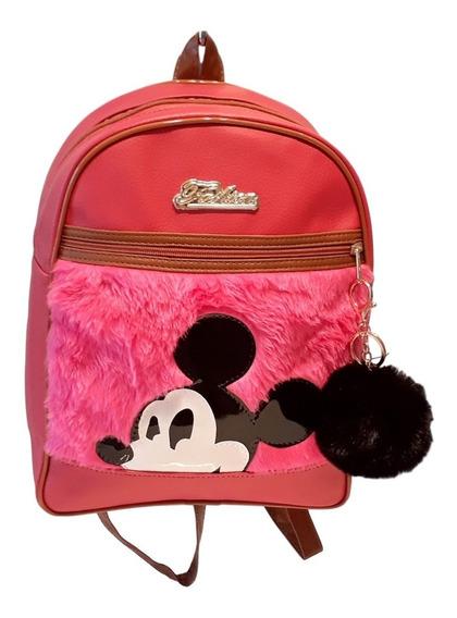 Mochila Mickey Feminina E Infantil Pelinho E Chaveiro Pompom