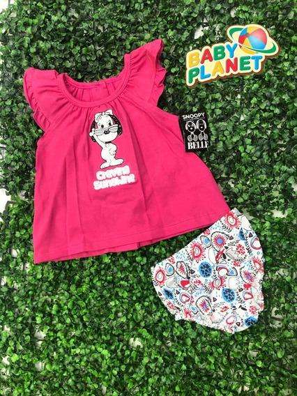 Vestido- Batita Con Bordado Snoopy Para Bebé Niña