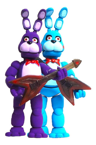 Imagen 1 de 7 de Combo 2 Figuras Five Nights Freddys Fnaf Bonnie Azul Morado
