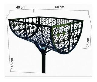 Lixeira De Rua Modelo Tela Moeda De 60cm