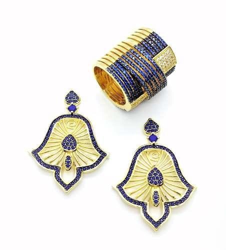 Brincos E Anel Cravejado Lápis Lazuli Banho Ouro 3984 4001