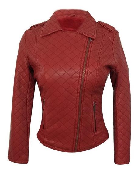 Chamarra Imitación De Piel Para Dama Moda Vintage Roja