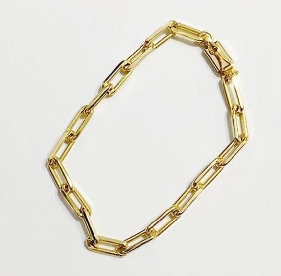 Pulseira Masculina Com Elo Cartier Folheada Ouro 24k Grossa