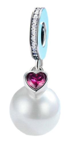 Charm Dije Perla Corazón. Estilo Pandora En Plata S925