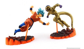 Kit 2 Figure Action Bonecos Goku Vs Golden Freeza Colosseum
