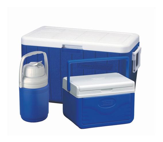 Set De Coolers Coleman Azul 45lts, 11.35lts Y 1,2lts Camping