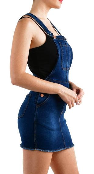 Enterito Pollera Mujer Jardinero Jean Elastizado Azul Blanco