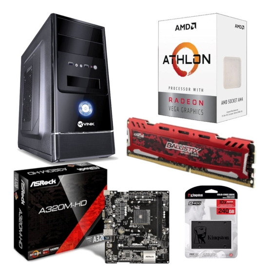 Pc G1 One Amd Athlon 200ge Asrock A320m Hd Bl 8gb Ssd 240gb