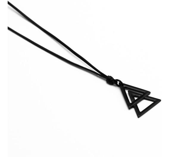 Cordão Colar Couro Masculino - 2 Triângulos Black