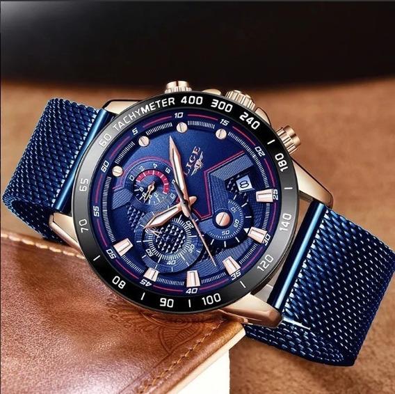 Relógio Luxo Masculino Lige Pulso Pulseira Inox A Prova D