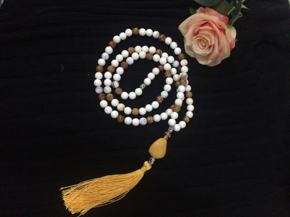 Colar Japamala Budismo Ho´oponopono 108 Contas Branco+brinde