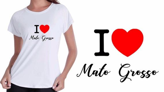 Camisa Camiseta Baby Look Branca I Love Mato Grosso Do Sul