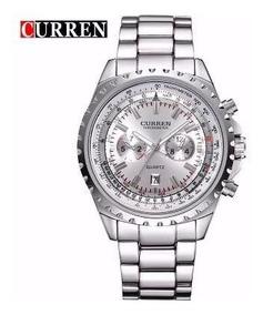Relógio Masculino Curren 8053 Prata Marca Japonesa Luxo