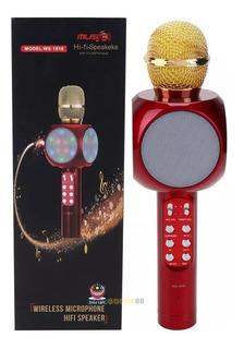 Micrófono Karaoke Bluetooth Inalambrico Con Parlante Usb Luz