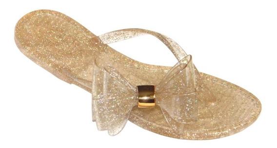 Chinelo Feminino Adulto Glitter Mirabella Ouro Laço