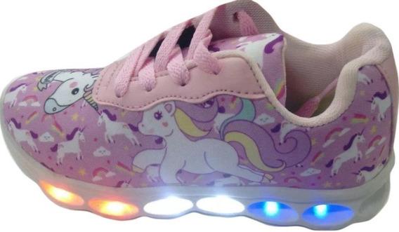 Unicornio Tenis Infantil Luzes 6leds 50%0ff Dia Das Crianças