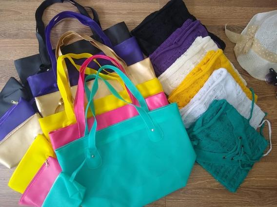 Moda Praia Atacado Kit Com 6 Bolsas E 6 Saídas De Praia