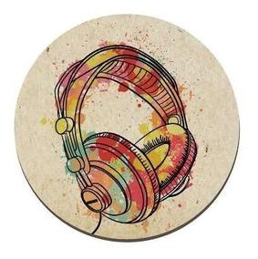Quadro Placa Decorativa Redonda - Fone De Ouvido 5214