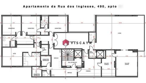 Apartamento Com 4 Dormitórios, 383 M² - Venda Por R$ 2.700.000,00 Ou Aluguel Por R$ 6.500,00/mês - Morro Dos Ingleses - São Paulo/sp - Ap0002