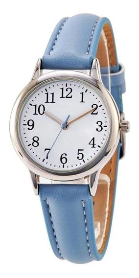 Relógio Feminino Prata Pequeno Números Pulseira Couro Azul