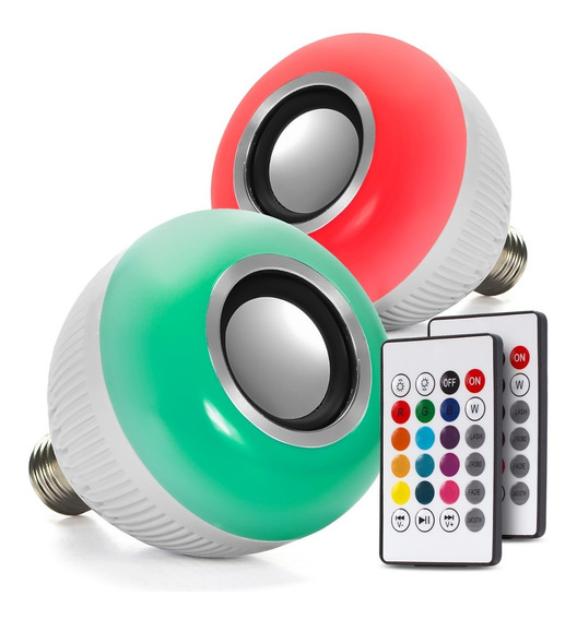2 Lampada Bluetooth Led Rgb Branco Caixa Som Musical Bulbo