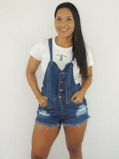Jardineira Macaquinho Salopete Calça Short Jeans Feminino