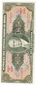10 Dez Cruzeiros Antiga Nota Cédula Nacional Carimbada N0476