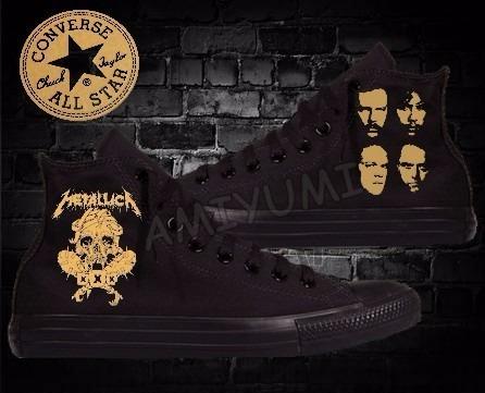 All Star Metallica Tênis Converse Black Edition Custom