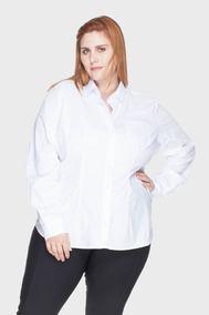 Camisa Acinturada Algodão Com Elastano Plus Size Branco-58