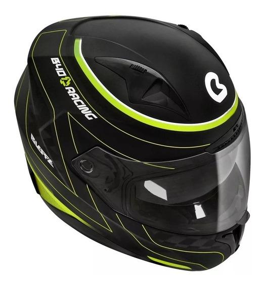 Capacete Bieffe B40 Racing Preto Fosco/verde C/ Óculos 60