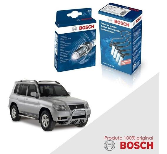 Kit Jogo Cabo+velas Bosch Pajero Tr4 2.0 16v Flex 07-15