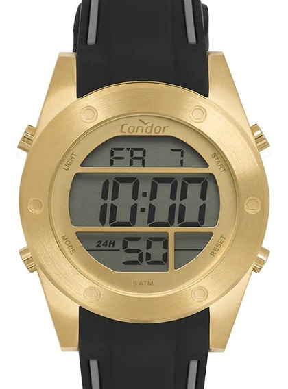 Relógio Condor Masculino Digital Esportivo Dourado C/ Nf