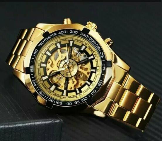 Relógio Masculino Automático Mecânico Skeleton Dourado Luxo