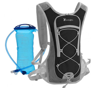 Mochila De Hidratação Preta Com Refil Água 2l Bike