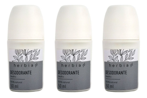 3 Desodorante Roll-on S/ Alumínio Vegano Neutro Herbia 50 Ml