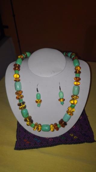 Collar Y Aretes De Ámbar De Chiapas Con Turquesa Barril