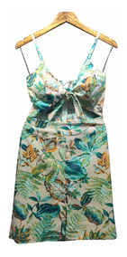 Vestido Florido Conjunto Cropped E Saia Charmoso Praia Leve