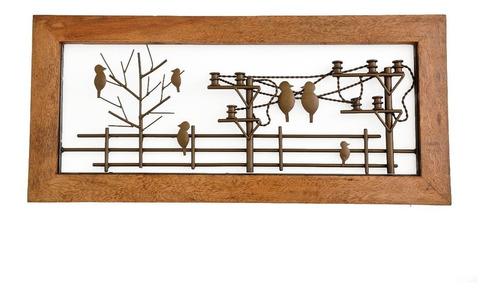 Imagem 1 de 1 de Painel Moldura Pássaros Decoração Artesanal Sala