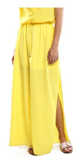 Falda Larga Mujer Cintura Ajustable Color Amarillo Lob