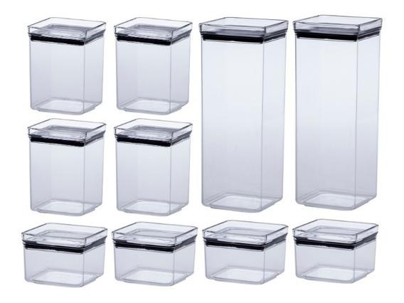 Jogo 10 Potes Herméticos Quadrado Lumini 480 1000 2200ml