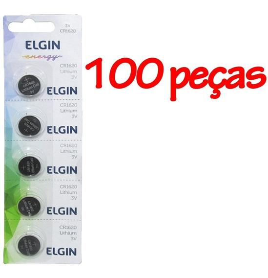 100 Bateria Moeda Cr1620 3v Pilha Lithium Botão Elgin