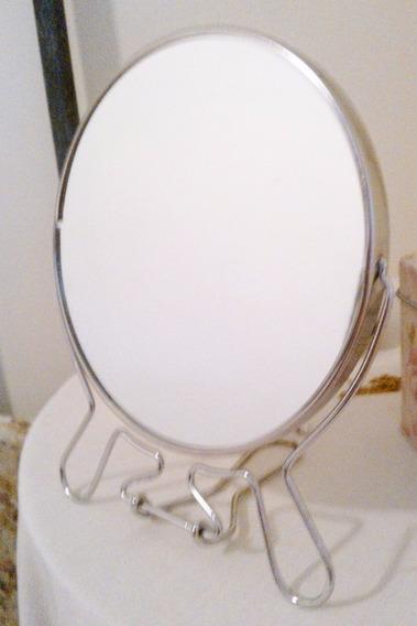 Espejo Doble Faz 2x 15cm Giro 360 Maquillaje Afeitado X 10 U