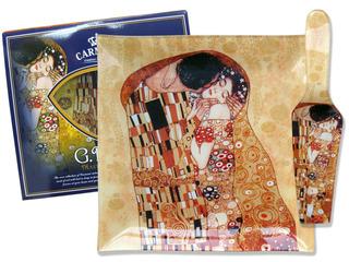 Plato En Cristal Cuadrado 25cm Con Espátula El Beso Klimt