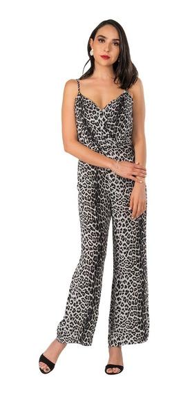 Jumpsuit Palazzo Mujer Leopardo Animal Print Tirantes Moda