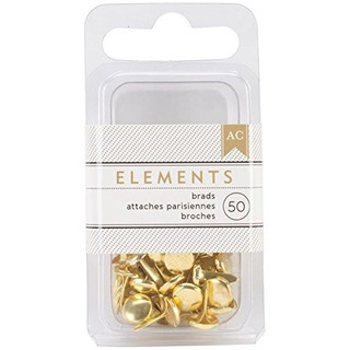 American Crafts Elements Brads 01875inch Gold 50pack