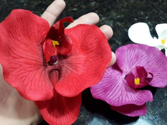 Orquídea Para Cabelo Flores Presilha Grande Cores Carnaval