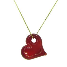 Gargantilha Pingente De Cristal Artesanal Coração Vermelho