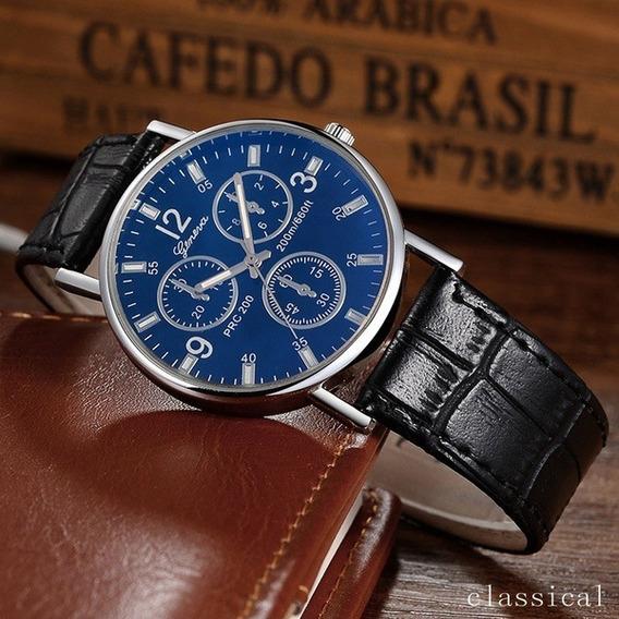 Relógio Geneva Luxo Masculino Pulseira De Couro Modelo Social