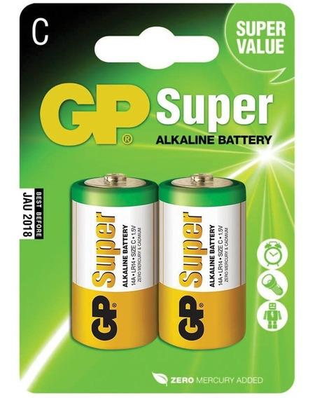 Pilha Alcalina C Média 1.5v Gp Batteries C/ 2 Unidades