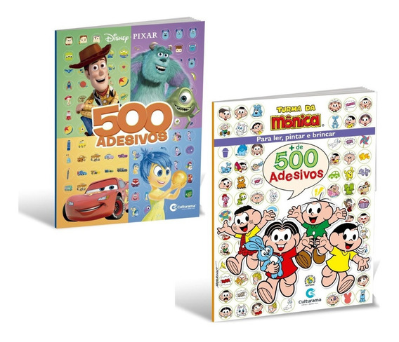 Kit 2 Livros 500 Adesivos - Turma Da Monica + Disney Pixar
